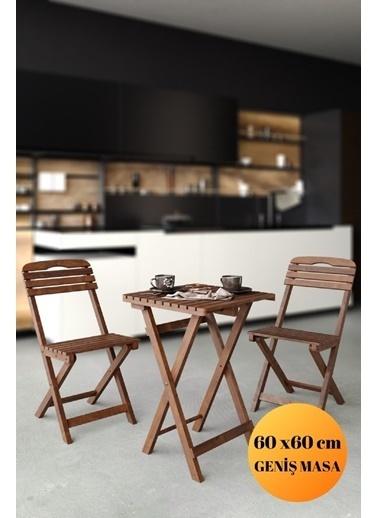 Meya Dekor 60x60 Cm Masalı Balkon Bahçe 3'lü Katlanabilir Bistro Set 2 Sandalye 1 Masa Renkli